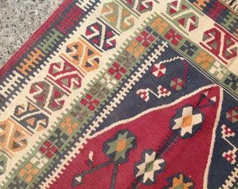 small size kilim rug vintage turkish rug burgundy area rug kilim rug - 3x5 Rugs