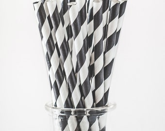 Black and white striped paper straws.  Set of 24.  Party straws.  Patterned straws.  Black straws.  White straws.  Black and white stripes.