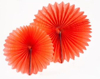 CORAL tissue paper pinwheel fan.  8 inch or 12 inch.  Hanging party decorations.  Coral red pinwheel fan.  Coral party decorations.
