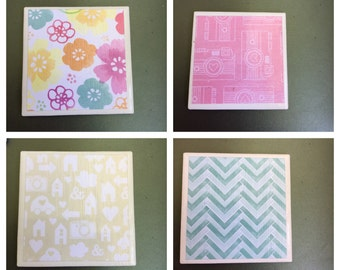 White tile coasters pattern 2