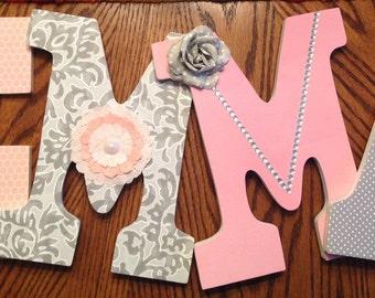 Letters for nursery, Girls room letters, Custom nursery letters, Pink and gray letters, Baby girl nursery decor, Wall letter