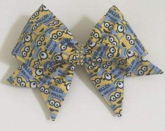 Hand sewn fabric minion cheer bow