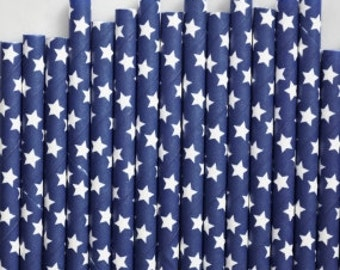 Navy and White stars paper straws - (Available with personalized flag)