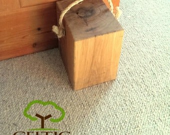 Beautiful Hand Crafted Oak Beam Door Stop with Rope Handle, Country Cottage, Kitch, Barn, Farmhouse