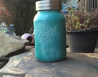 NEW Large Hand-painted Distressed Bright Teal Green Mason Jar Aged Weathered Vase Bank