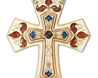 Wood Cross with Holy Earth from Jerusalem