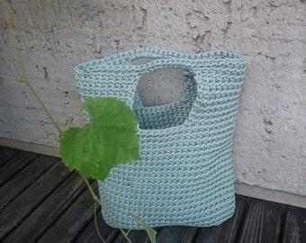 Mint crochet rope handbag