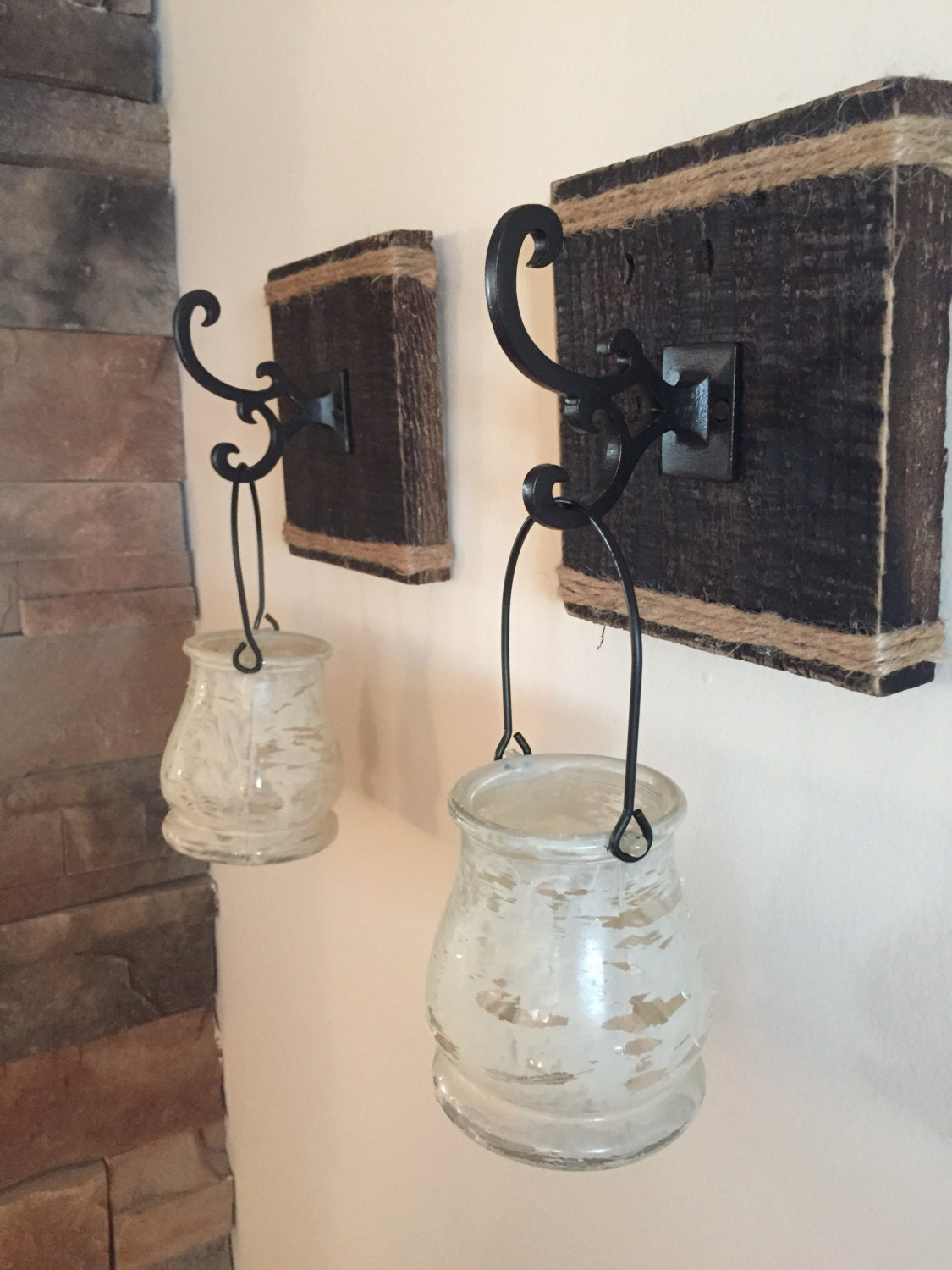 Rustic Reclaimed Wood Candle Holder Wall Sconce Set of Two