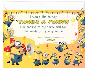 20 x Glossy Thank You Cards inspired by Minions with 20 x free envelopes