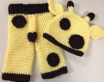 Crocheted Newborn giraffe outfit