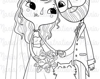 DESCARGAR INSTANT, sello digital de la línea, de la mano ilustración dibujada - adorable novia y el novio con gato