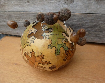 "Gourd with leaves and acorns 7 1/2"" tall 25"" diameter"