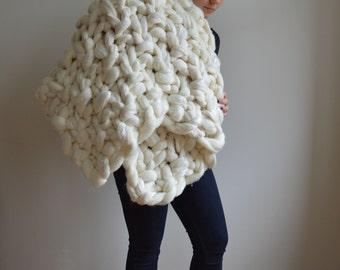 Super Chunky Blanket - Moss Stitch Merino Knit Throw