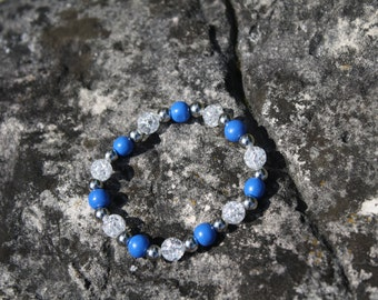 Royal Blue and Silver Acrylic Stretch Bracelet, Beaded Bracelet, Royal Blue, Royal Blue Bracelet, Blue Bracelet