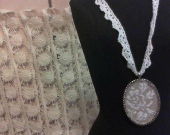 Shabby Chic Linen & Lace Necklace