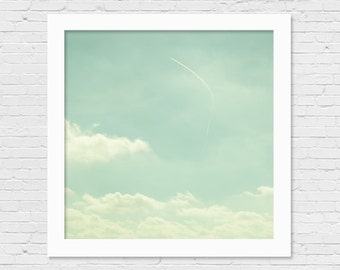 Shabby Chic Decor Nature Photograph Cloud Photography Surf Decor Blue Sky Photo White Clouds Picture Teal 5x5 8x8 12x12 inch Print Fine Art