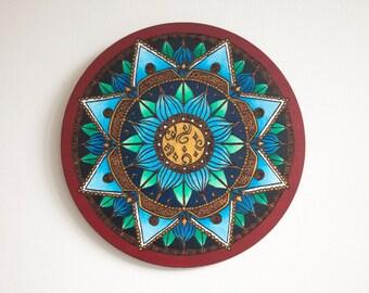 Wooden Wall Art- Blue Lotus Mandala