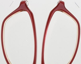 Magenta 1980s Eyeglasses Frames Earrings (3157-04)