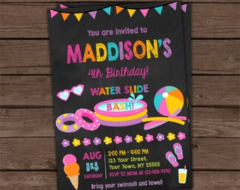 Water Slide Invitation, Girl Water Slide Party Invitation