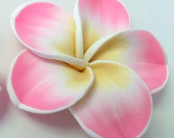 1 Clay Plumeria Frangipani Flower Cabochon Embellishment Flatback Deco Jewelry Supplies 42mm Beads Floral