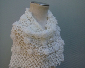 Wedding Shawl,Bridal Shawl, Bridal bolero, Wedding bolero, Shawl,Shrug, Crochet Shawl, Winter Wedding cover ups, ivory Shawi,Shoulder Shawl,