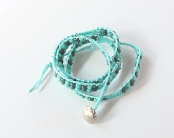 waxed cotton cord wrap bracelet in turquoise - KNO-11