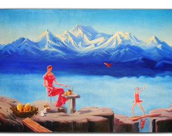 """The original picture, drawn in oils. Name """" At the top of the world """". The picture drew my father Aleksandr Maslyk."""