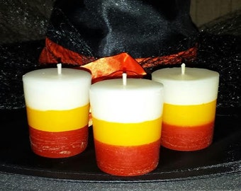 Candy Corn Votives, Halloween Votives, Candy Corn scented votives, Halloween Candles, 6 pkg. candy corn votives