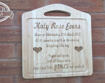Laser Engraved Personalised Baby Board Ideal to Celebrate New Birth and Baby