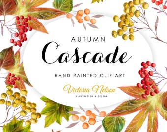 Hand Painted Watercolour Clip Art - Autumn/Fall Cascade