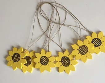 6 Handmade Wooden Sunflowers