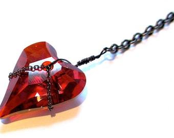 Black Chained Swarovski Ruby Heart Lariat Necklace