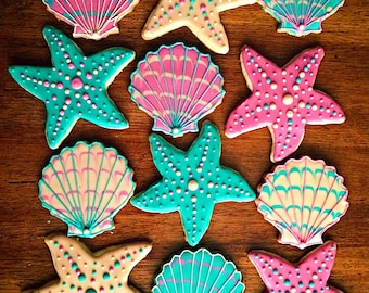 One Dozen - Shell & Starfish Ocean Cookies - Beach Wedding - Beach Party Favor
