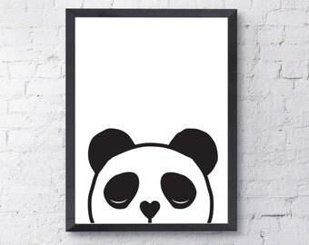 Kids Panda Print, Digital Download, A4 or A3 Printable Poster, Black & White Nursery wall Art, Kids Print, Panda Illustration, Kids Wall Art