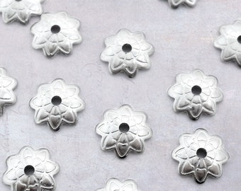 50 x Etched Flower Stainless Steel 7mm Bead Caps - Dark Silver Tone