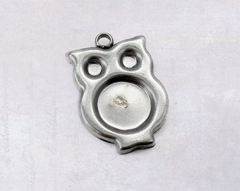 6 x Stainless Steel Little Owl Cabochon Frame Bezel Charm Pendant Settings 8mm Tray