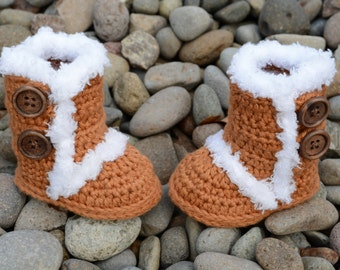 Crochet Baby Boots, Brown Boots, Baby Girl Boots, Crocheted Boots, Booties, Baby Gift, Winter Boots