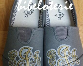 Handpainted monogrammed shoes