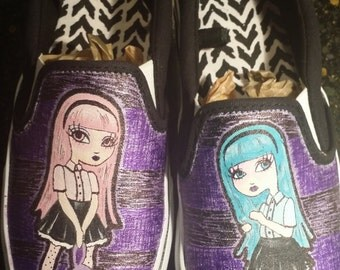 Handpainted shoes Pastel Goth Girls