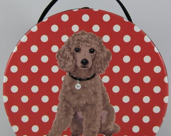 Poodle (Brown) Small Round Bag