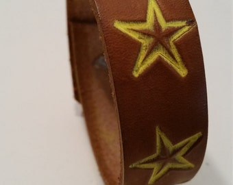 Starry Stamped Bracelet Cuff Genuine Leather - Medium Brown - Yellow Stars