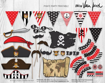 Pirate Party Printable Pack, Party Decoration and Photo Booth Props