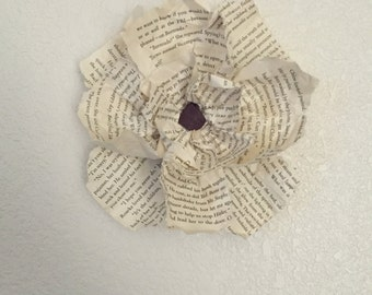 Handmade paper book page flowers, Set of 4, 6 inches in diameter