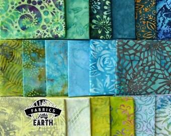 Blue Green Batik 18 Fat Quarter Bundle - Quilting Fabric