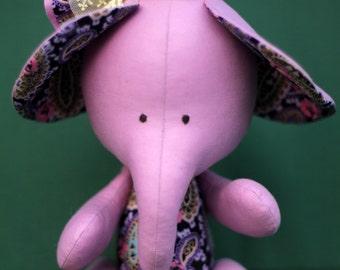 Handmade Elephant Toy Fabric, Soft Toy, Textile Elephant, Elephant Rag, Fabric Doll, Rag Doll, Baby Toy, Author Doll, Art doll, Eco Gift