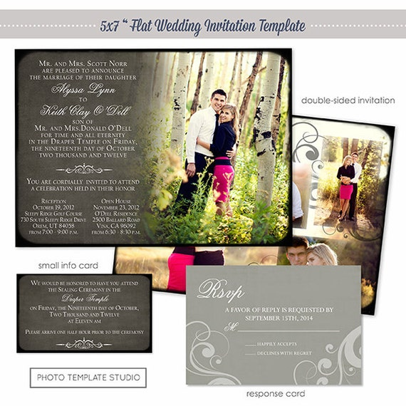Photoshop Template Classic Wedding Invitation Photo Card