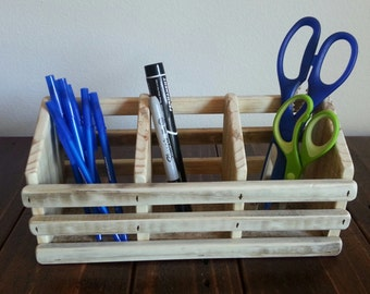 Desk Organizer for Home Office, Kitchen, Bedroom or Bathroom - made from Reclaimed & Repurposed Rustic Pallet Wood