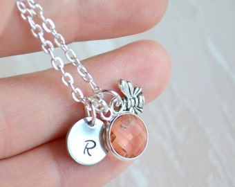 Peach bridesmaids jewelry, Bee necklace with initials charm, personalized bridesmaids necklace, Bridesmaids gifts, Wedding jewelry
