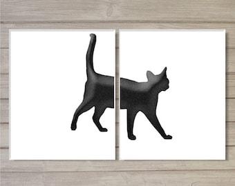 Black Cat Printable Wall Art Cat Poster Set of 2 Digital Wall Decor Black White Digital Print Home Decor Pet Lovers Instant Digital Download