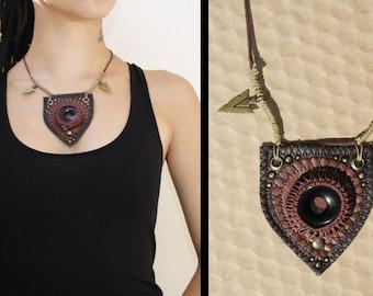 Vegan warrior necklace with onyx stone